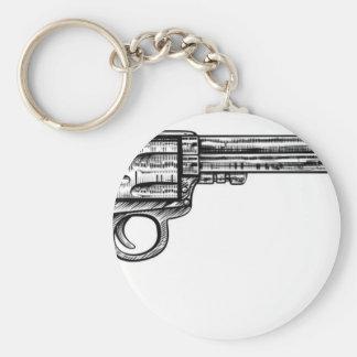 Pistol Gun Vintage Retro Woodcut Style Basic Round Button Key Ring