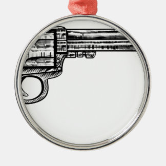 Pistol Gun Vintage Retro Woodcut Style Silver-Colored Round Decoration