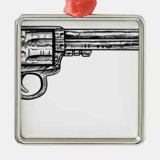 Pistol Gun Vintage Retro Woodcut Style Silver-Colored Square Decoration