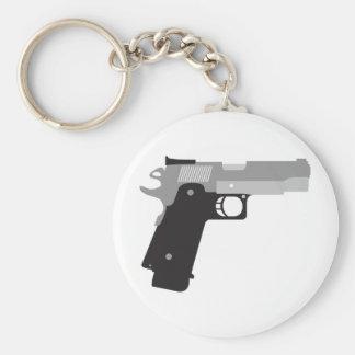 Pistol Basic Round Button Key Ring