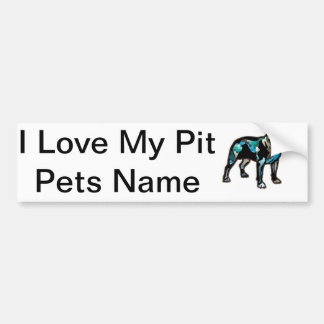 Pit Bull Abstract Design Pet Dog Add Name Text Car Bumper Sticker