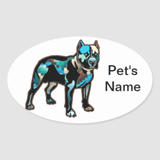 Pit Bull Abstract Design Pet Dog Add Name Text Oval Sticker