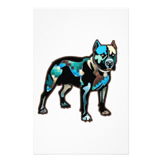 Pit Bull Abstract Design Pet Dog Add Name Text Stationery
