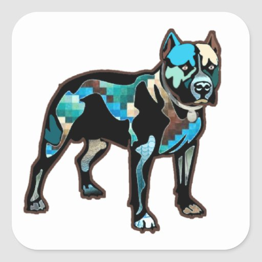 Pit Bull Abstract Design Pet Dog Add Name Text Stickers