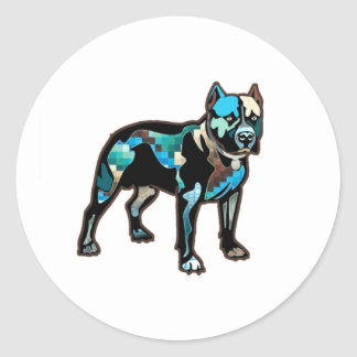 Pit Bull Abstract Design Pet Dog Add Name Text Round Sticker