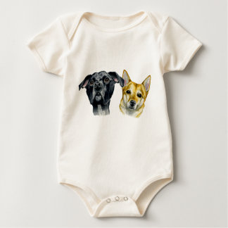 Pit Bull and Shiba Inu Watercolor Portrait Baby Bodysuit