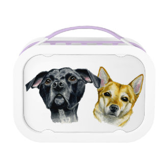 Pit Bull and Shiba Inu Watercolor Portrait Lunch Boxes