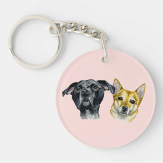 Pit Bull and Shiba Inu Watercolor Portrait Single-Sided Round Acrylic Key Ring