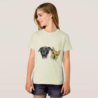 Pit Bull and Shiba Inu Watercolor Portrait T-Shirt