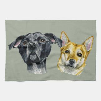 Pit Bull and Shiba Inu Watercolor Portrait Tea Towel