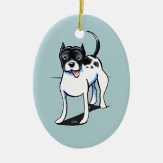 Pit Bull APBT Black White Double-Sided Oval Ceramic Christmas Ornament