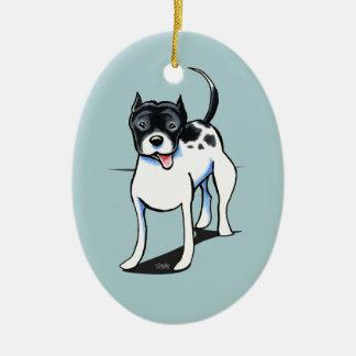 Pit Bull APBT Black White Christmas Ornament