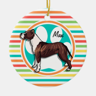 Pit Bull; Bright Rainbow Stripes Christmas Ornament
