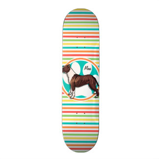 Pit Bull; Bright Rainbow Stripes Skate Board Deck