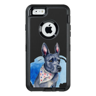 Pit Bull Dog Blue Watercolor Painting OtterBox Defender iPhone Case