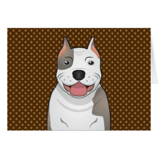 Pit Bull Dog Cartoon Paws Greeting Card