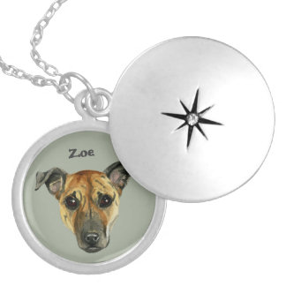 Pit Bull Dog Close Up Watercolor Painting Silver Plated Necklace