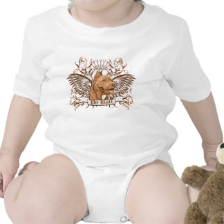 Pit Bull Dog Crest & Wings Rompers