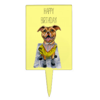 Pit Bull Dog in a Rain Coat Watercolor Birthday Cake Toppers