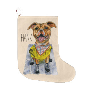 Pit Bull Dog in a Rain Coat Watercolor Large Christmas Stocking