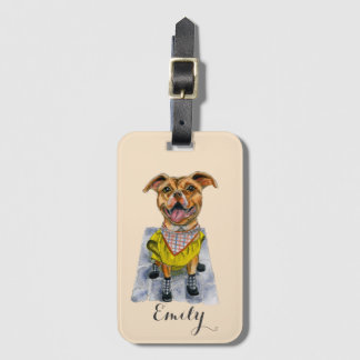 Pit Bull Dog in a Rain Coat Watercolor Luggage Tag