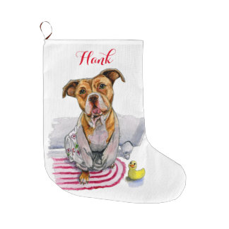 Pit Bull Dog in Bathrobe Watercolor Painting