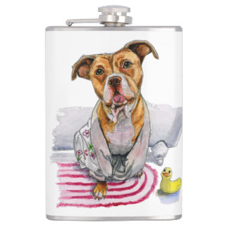 Pit Bull Dog in Bathrobe Watercolor Painting Hip Flask