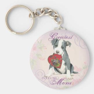 Pit Bull Heart Mom Basic Round Button Key Ring