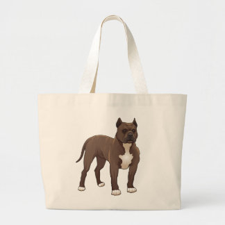 Pit Bull Love - Cartoon Brown & White Puppy Dog Large Tote Bag