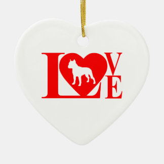 PIT BULL  LOVE CHRISTMAS ORNAMENT