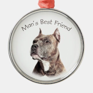 Pit Bull Man's Best Friend Silver-Colored Round Decoration