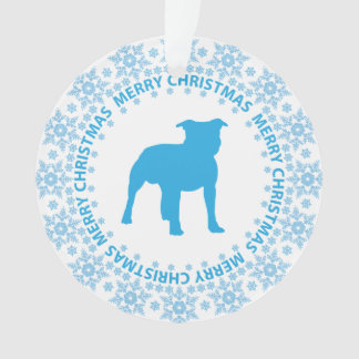 Pit Bull Merry Christmas Snowflake Ornament