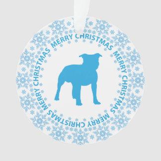 Pit Bull Merry Christmas Snowflake Ornament