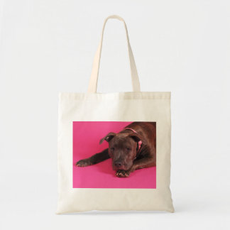 Pit Bull on Pink Budget Tote Bag