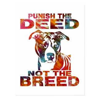 PIT BULL PUNISH THE DEED NOT THE BREED td6B Postcard