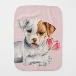 Pit Bull Puppy Holding Lotus Flower Painting Burp Cloth