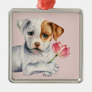 Pit Bull Puppy Holding Lotus Flower Painting Christmas Ornament