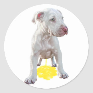 Pit Bull Puppy Piddles OOPS Stickers