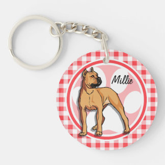 Pit Bull; Red and White Gingham Key Chain