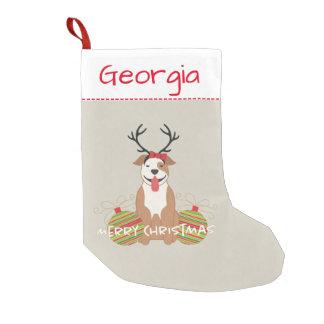 Pit Bull Reindeer (Female) Merry Christmas Pet Small Christmas Stocking