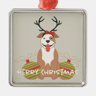 Pit Bull Reindeer (female) Merry Christmas Silver-Colored Square Decoration