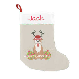 Pit Bull Reindeer (Male) Merry Christmas Pet Small Christmas Stocking