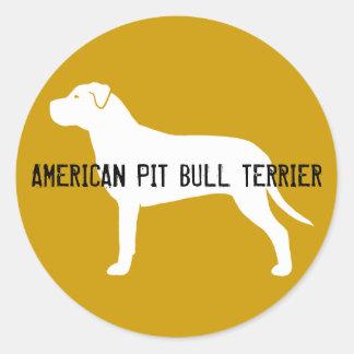 Pit Bull Silhouette Round Sticker