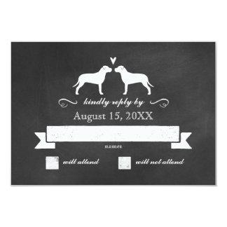 Pit Bull Silhouettes Wedding RSVP Reply 9 Cm X 13 Cm Invitation Card