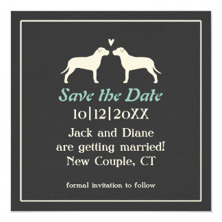 Pit Bull Silhouettes Wedding Save the Date 13 Cm X 13 Cm Square Invitation Card