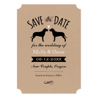 Pit Bull Silhouettes Wedding Save the Date 13 Cm X 18 Cm Invitation Card
