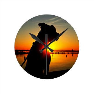 Pit Bull Sunrise Round Clock
