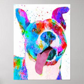 Pit Bull Terrier Colorful Pop Art Poster