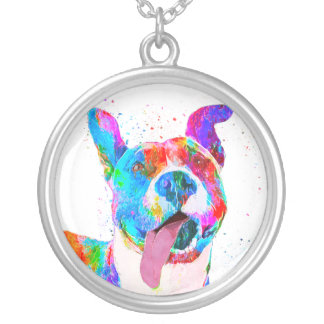 Pit Bull Terrier Colorful Pop Art Silver Plated Necklace