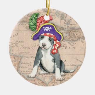 Pit Bull Terrier Pirate Round Ceramic Decoration
